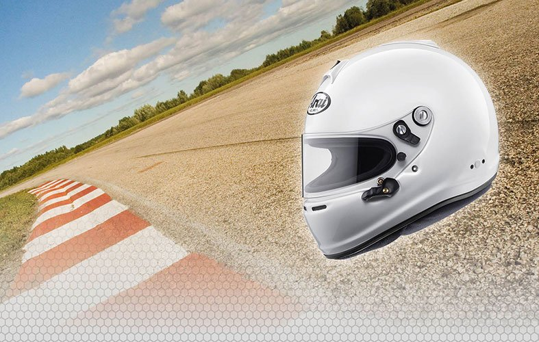 GP 6S ARAI on the road race background