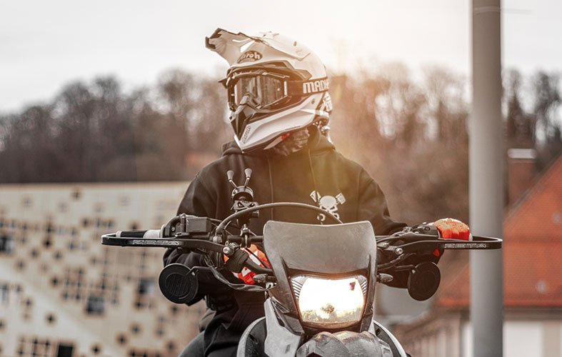 biker with a modular helmet