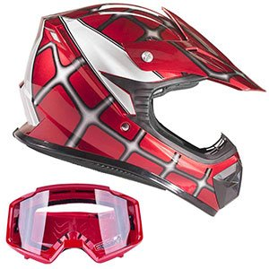 product image of Typhoon Youth Off Road Helmet & Goggles DOT Motocross ATV Dirt Bike Motorcycle Red Spiderman