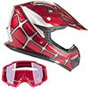 small product image of Typhoon Youth Off Road Helmet & Goggles DOT Motocross ATV Dirt Bike Motorcycle Red Spiderman