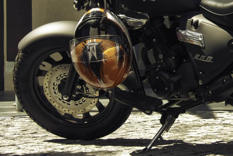 close-up shot of the motorcycle