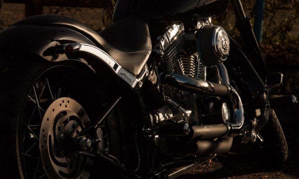 closeup photo of a motorbike