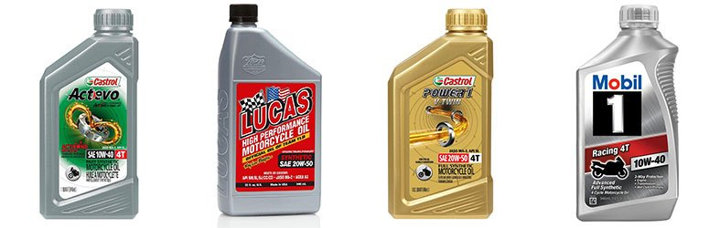 product photo of four motorcycle oil brands