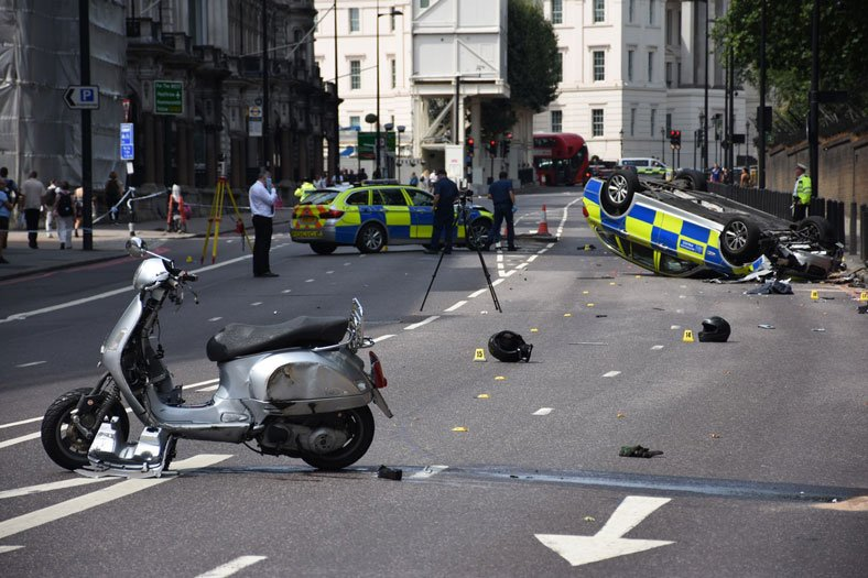 image of car and motorcycle accident