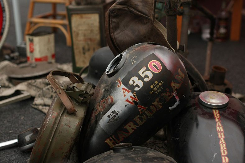 rusty motorcycle gas tank