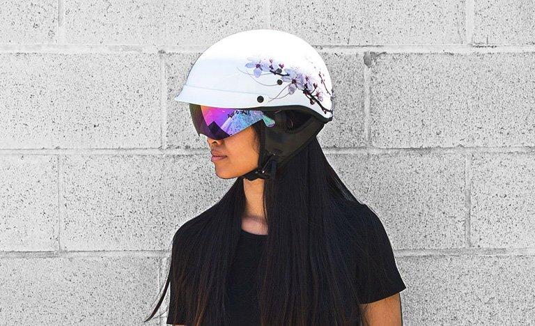 A Woman Wearing Voss 888FRP Helmet