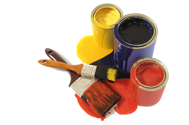 Blue Red and Yellow Paint Tins and Brushes