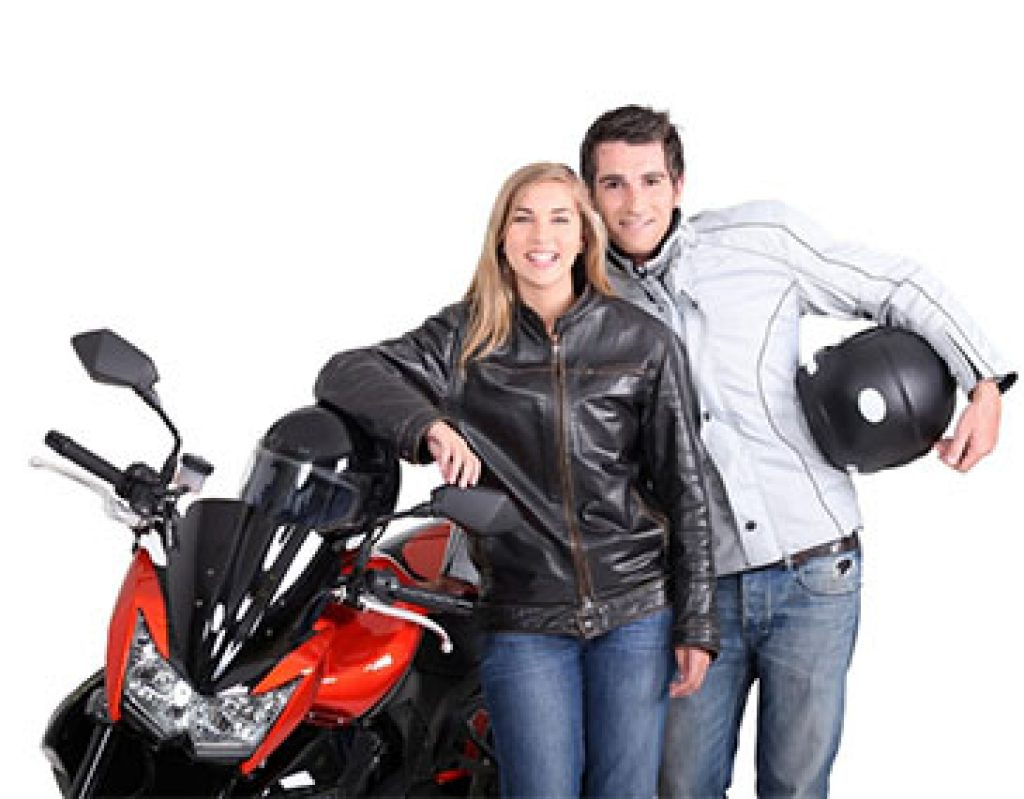 image of couple wearing motorcycle jackets