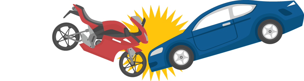 Crash of the Motorcycle and Car