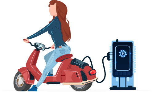 Woman Charging Her Electric Bike Illustration