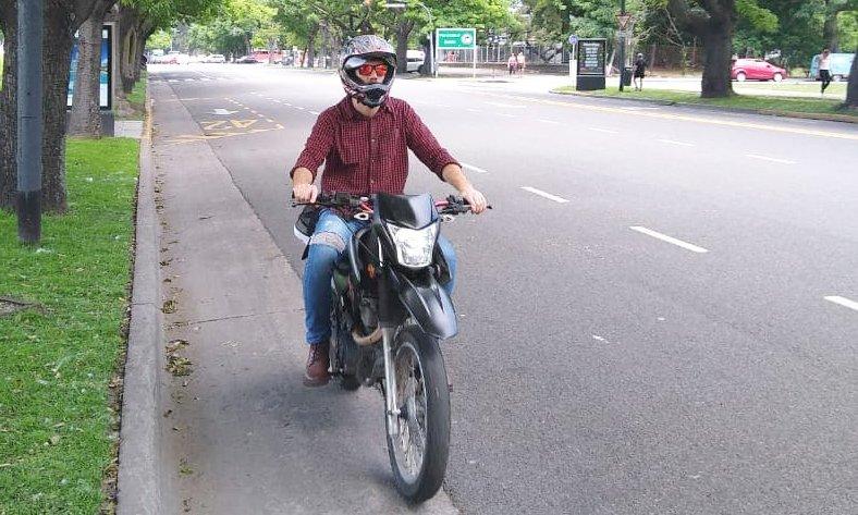 Jordan Riding His Motorcycle