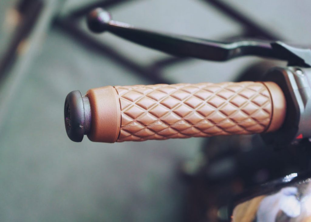 image of brown motorcycle handlebar