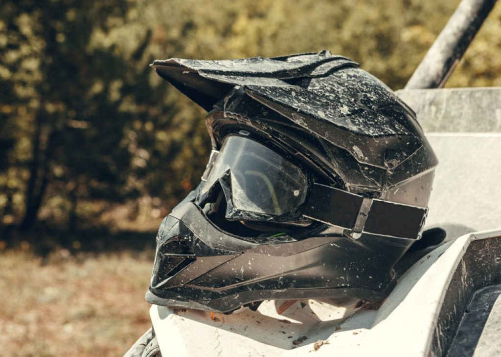 image of dirty motocross helmet
