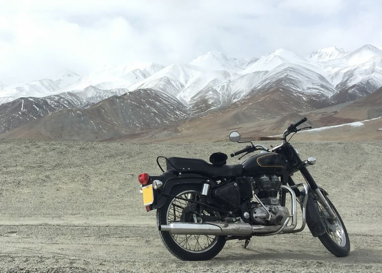 image of motorcycle in tundra