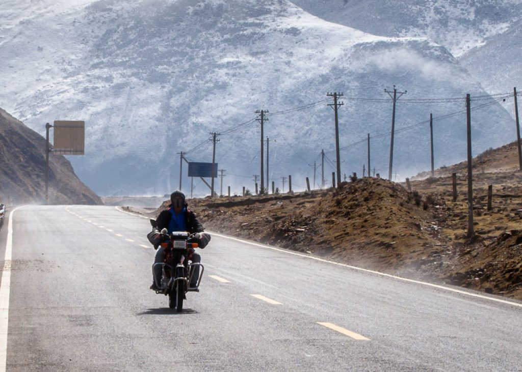 image of motorcycle road and beautiful winter