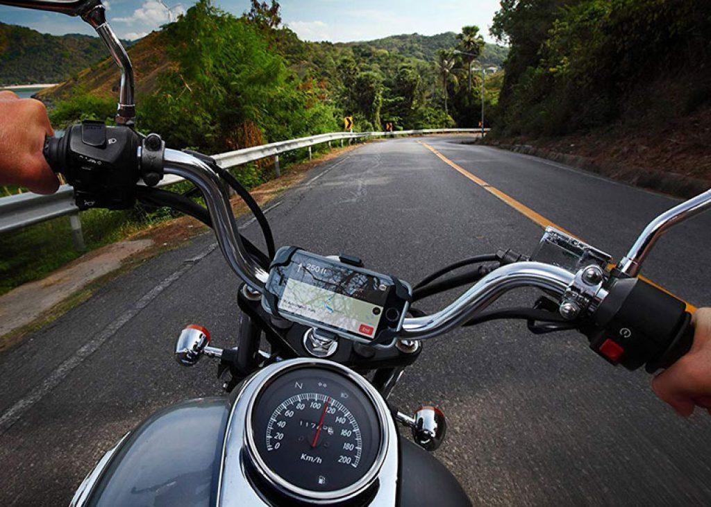image of motorcycle steering wheel focus