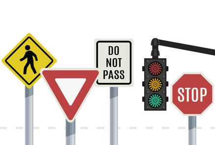 Ilustration of most common traffic signs