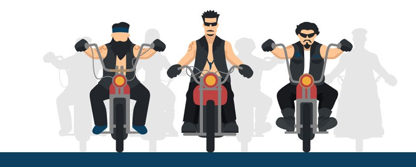 illustration of men's motorcycle crew