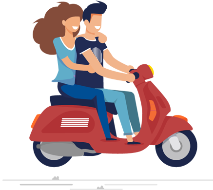 illustration of young couple riding a motorcycle