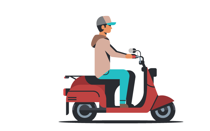 illustration of young man riding a motorcycle