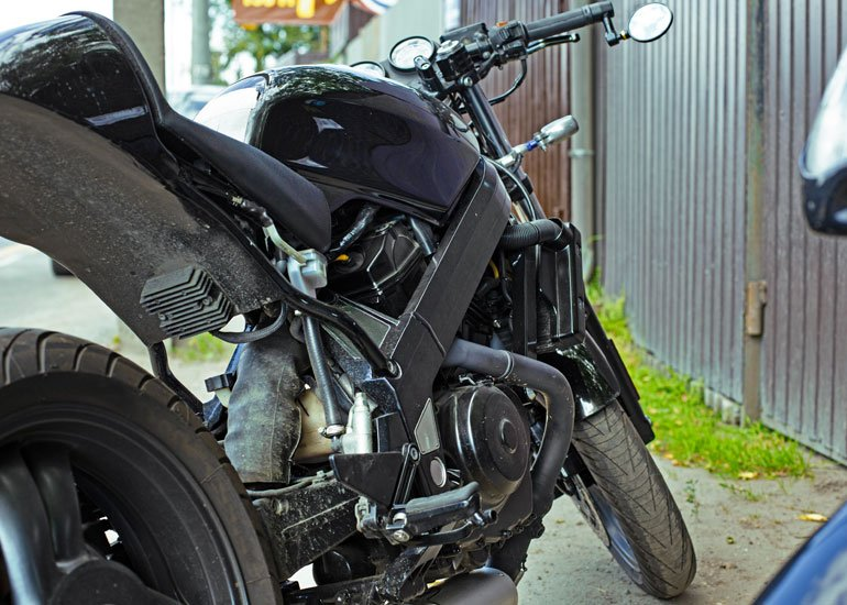 image of parked motorbike close up
