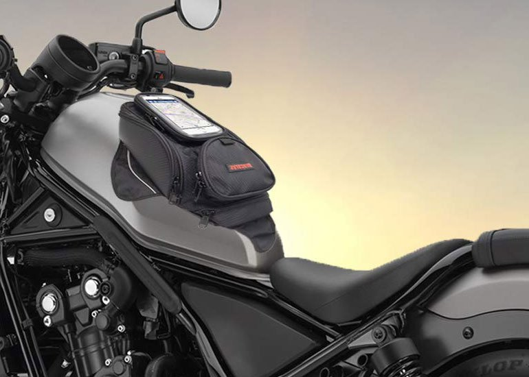 image of tank bag attached to motorcycle
