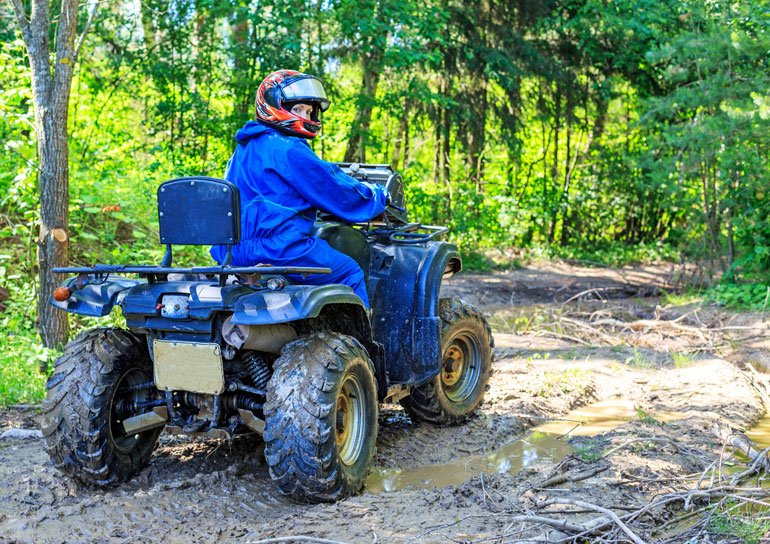 image of young girl riding atv