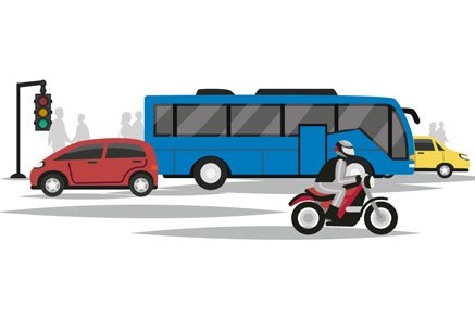 motorcycle in city traffic illustration