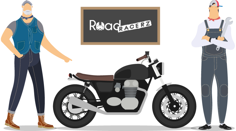 Illustration of Two Guys Repairing Motorbike