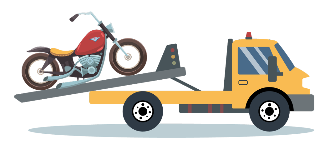 Illustration of broken motorcycle on tow truck