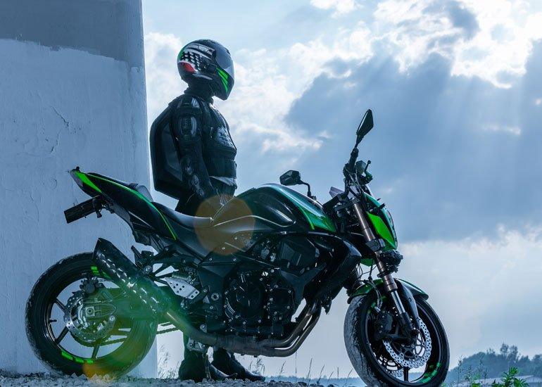 image of man and motorbike