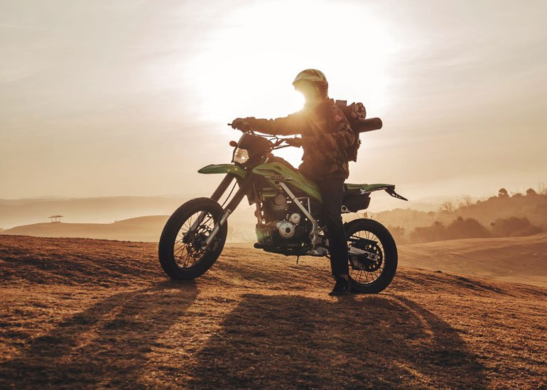 image of motorbike and sunset