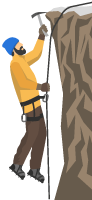 Illustration of a Man Mountain Climbing