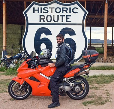 Jordan Russel in front of Route 66 Sign
