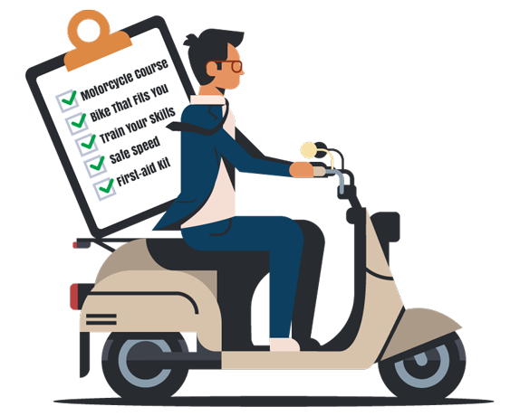 Motorcycle rider holding checklist for beginners