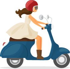 Illustration of a Lady Riding a Scooter in Dress