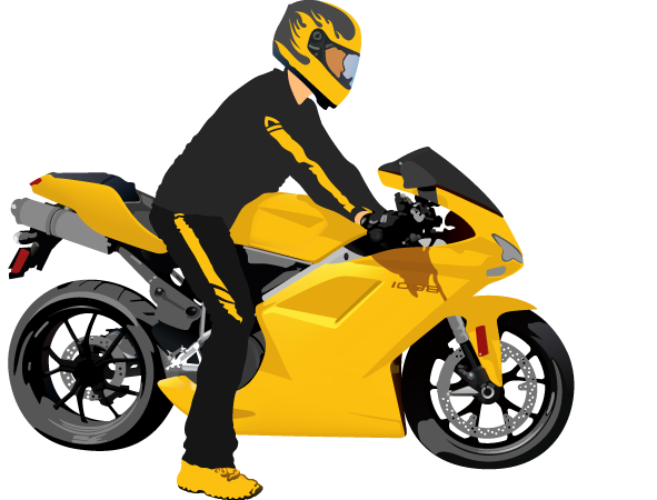 Motorcycle Driver Fully Equipped Illustration