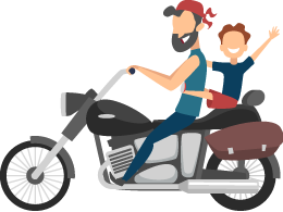 Father and Son Happy Riding a Motorcycle Illustration