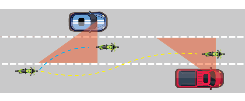 illustration of a motorcycle passing through blind spot