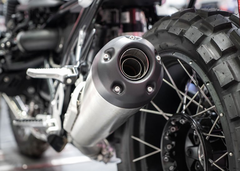 image of motorbike exhaust focus