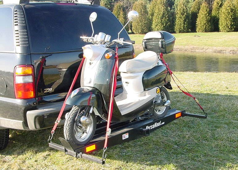 image of motorcycle on hitch carrier