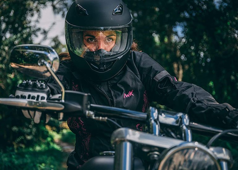 image of pretty girl riding motorcycle