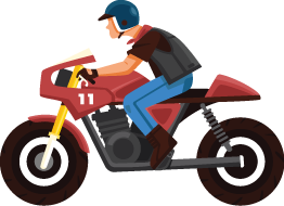 Illustration of a Man Riding a Motorbike In an Uncomfortable Position